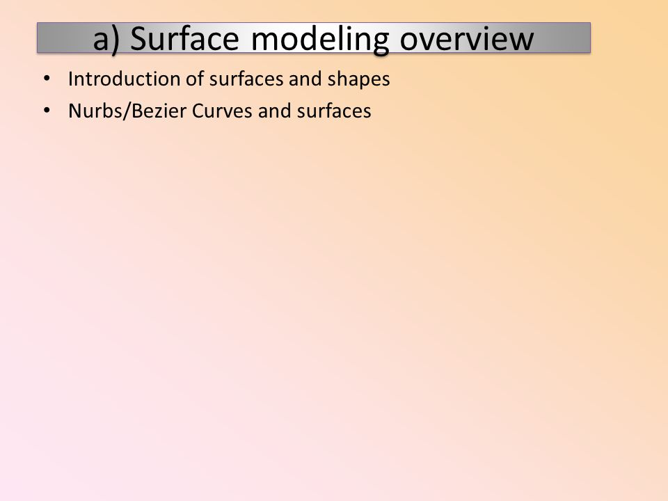 a) Surface modeling overview