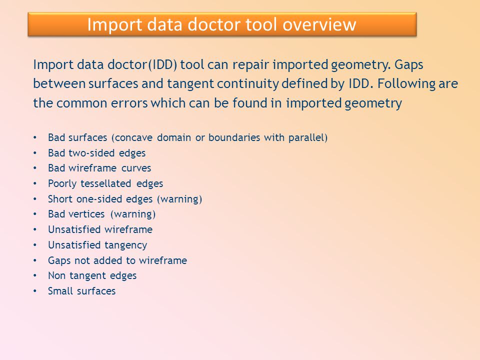 Import data doctor tool overview