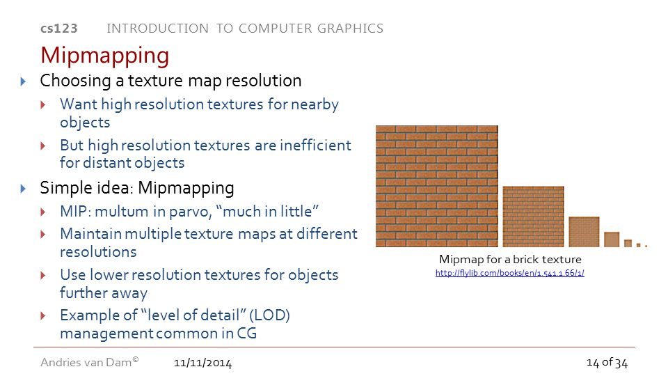 Mipmap for a brick texture