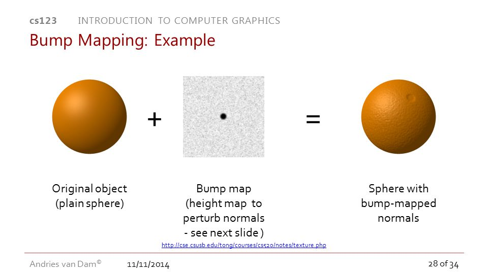+ = Bump Mapping: Example Original object (plain sphere)