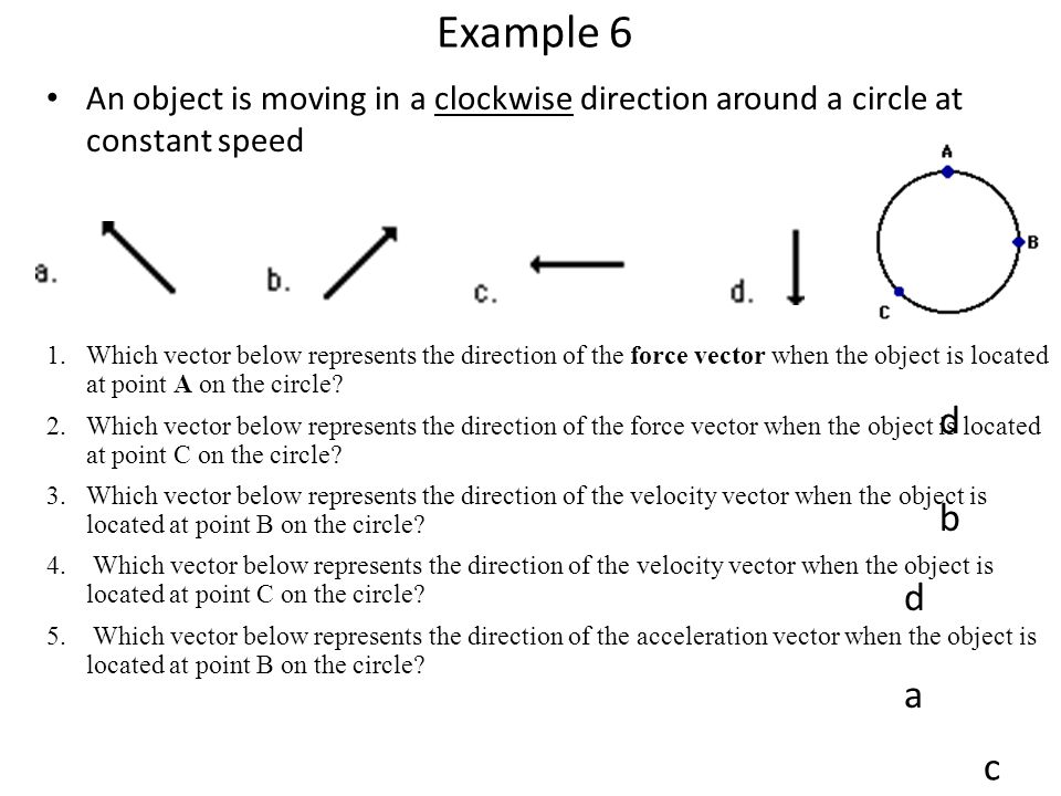 Example 6 An object is moving in a clockwise direction around a circle at constant speed.