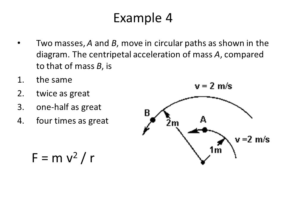 Example 4 Two masses, A and B, move in circular paths as shown in the diagram. The centripetal acceleration of mass A, compared to that of mass B, is.