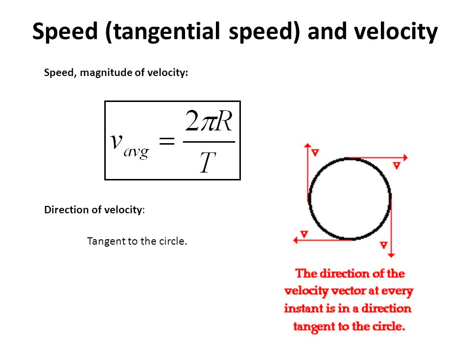 Speed (tangential speed) and velocity