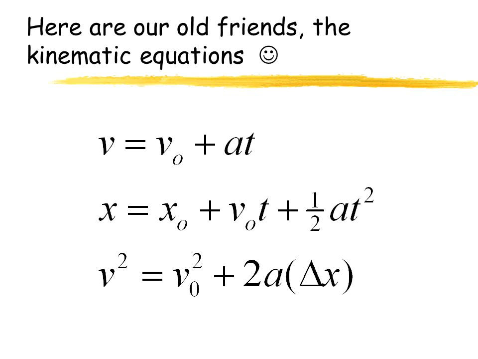 Here are our old friends, the kinematic equations 