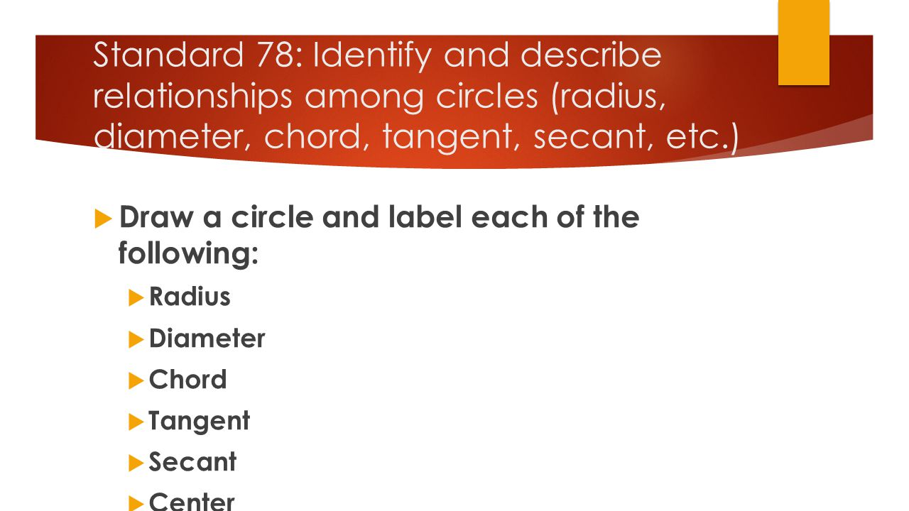Standard 78: Identify and describe relationships among circles (radius, diameter, chord, tangent, secant, etc.)