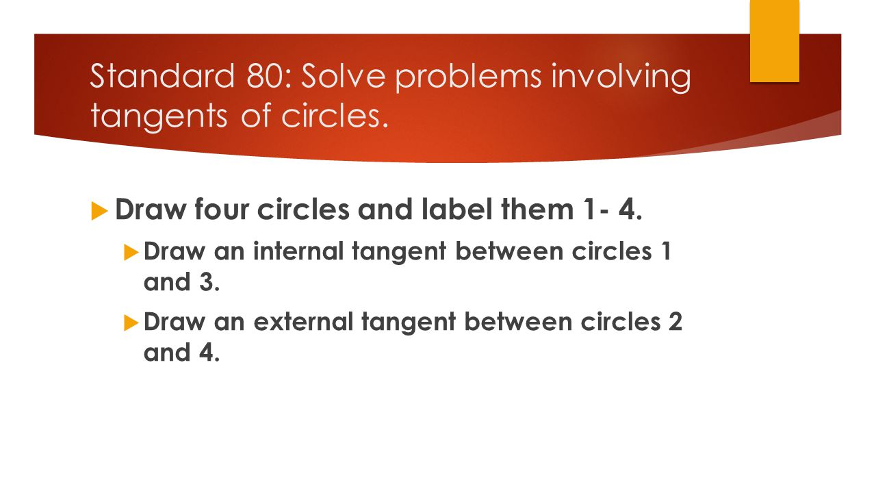 Standard 80: Solve problems involving tangents of circles.