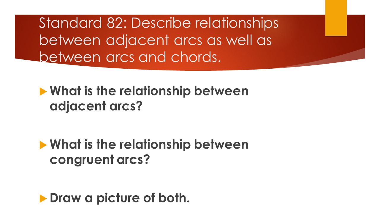Standard 82: Describe relationships between adjacent arcs as well as between arcs and chords.