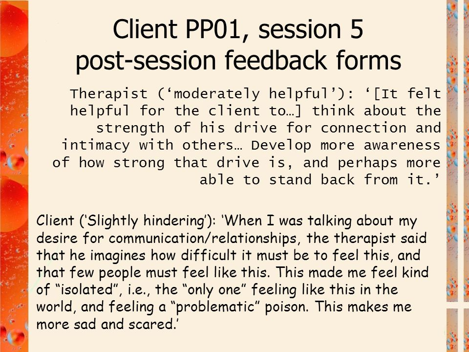 Client PP01, session 5 post-session feedback forms