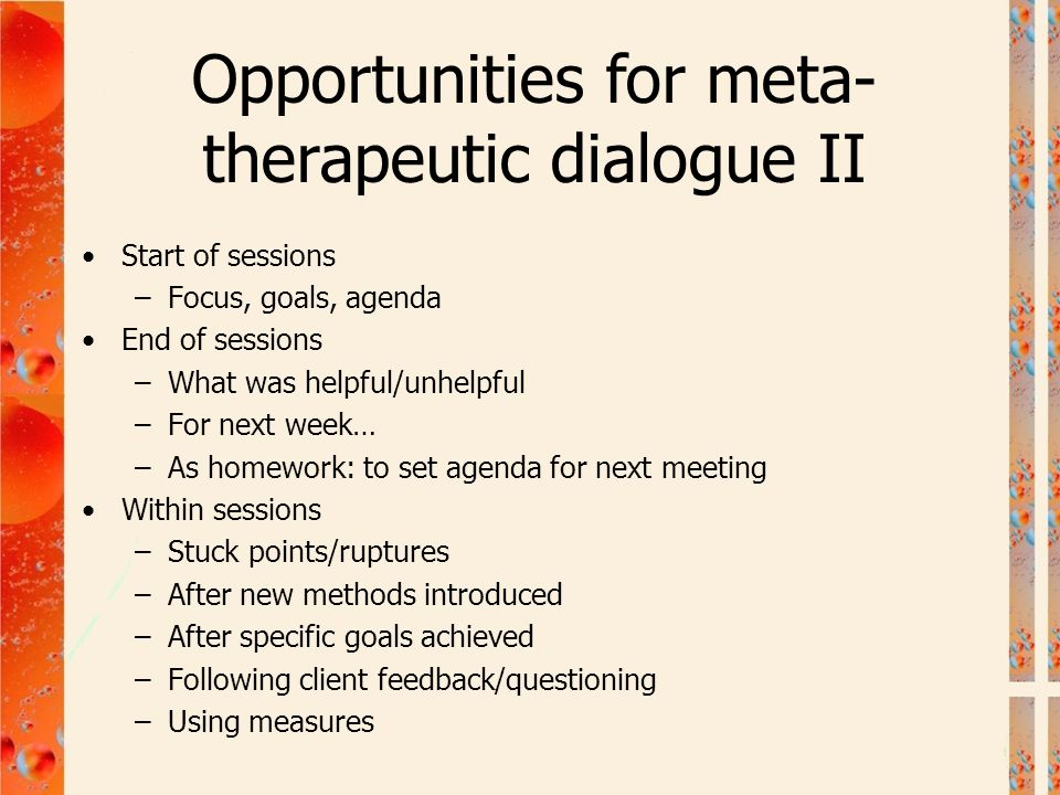 Opportunities for meta-therapeutic dialogue II
