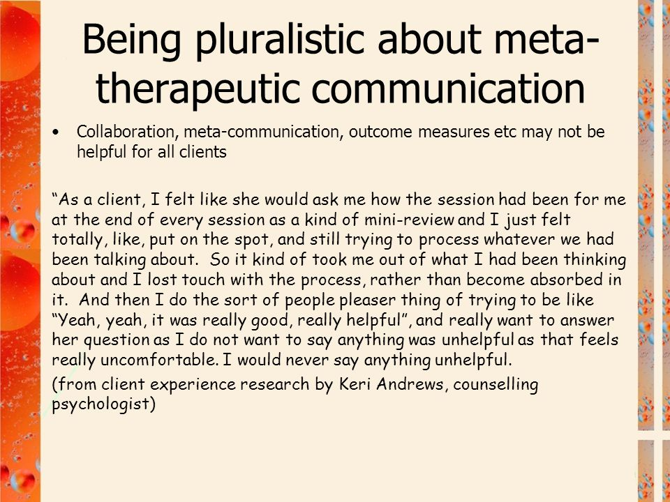 Being pluralistic about meta-therapeutic communication