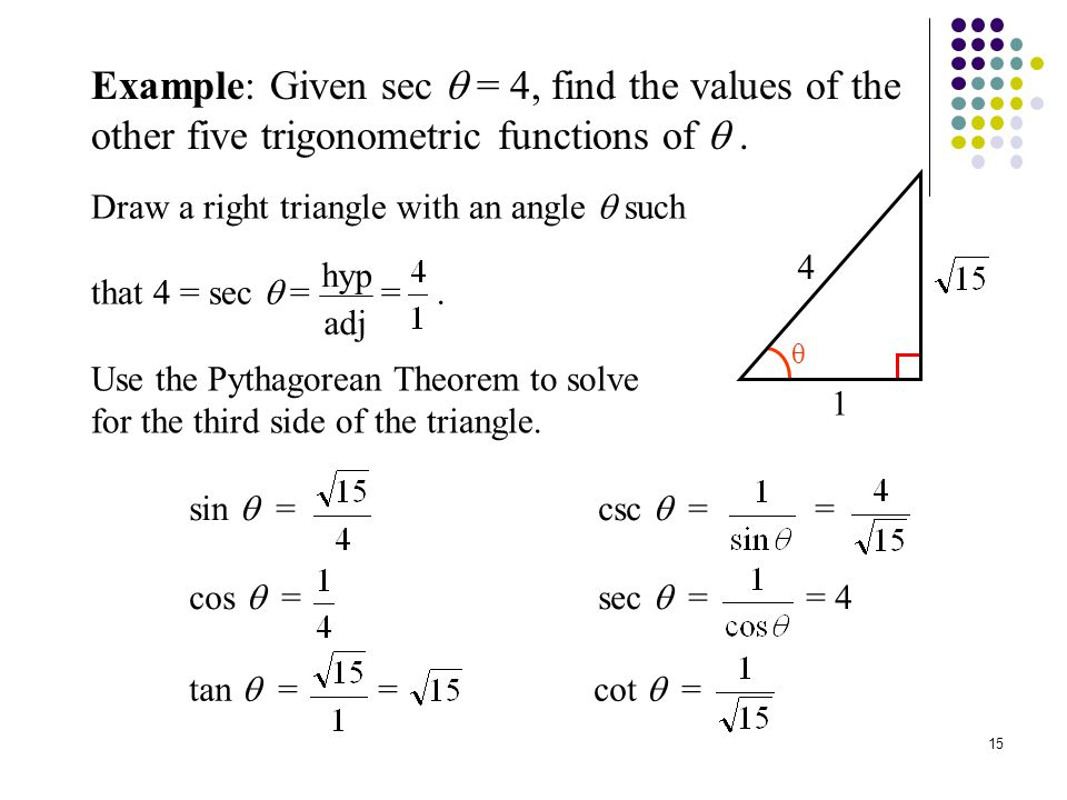 Example: Given 1 Trig Function, Find Other Functions