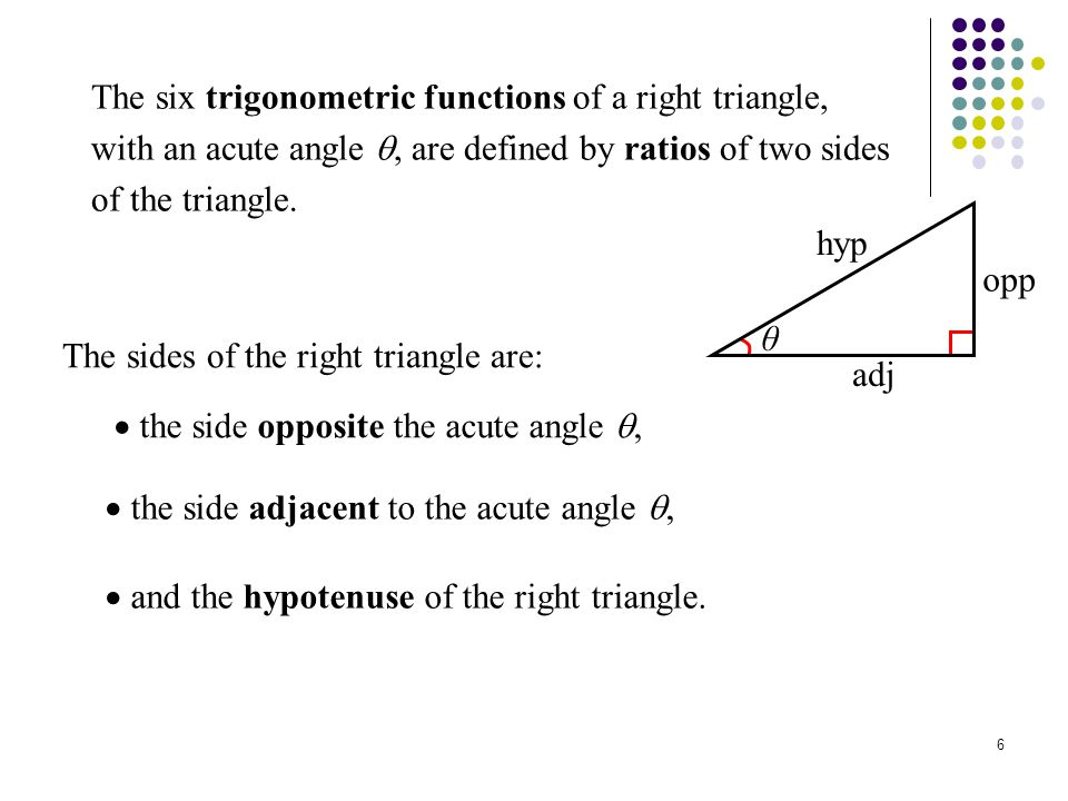 The six trigonometric functions of a right triangle, with an acute angle , are defined by ratios of two sides of the triangle.
