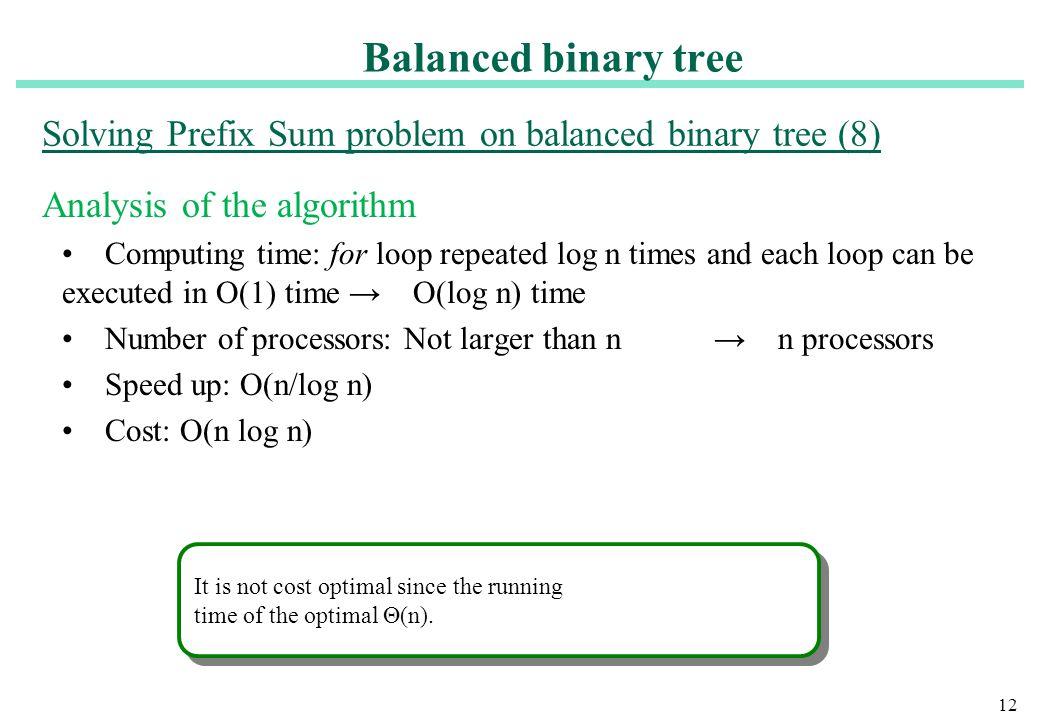 Solving Prefix Sum problem on balanced binary tree (8)