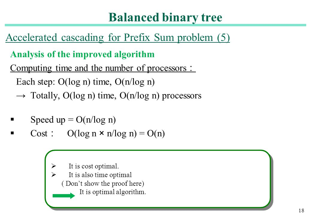 Balanced binary tree Accelerated cascading for Prefix Sum problem (5)