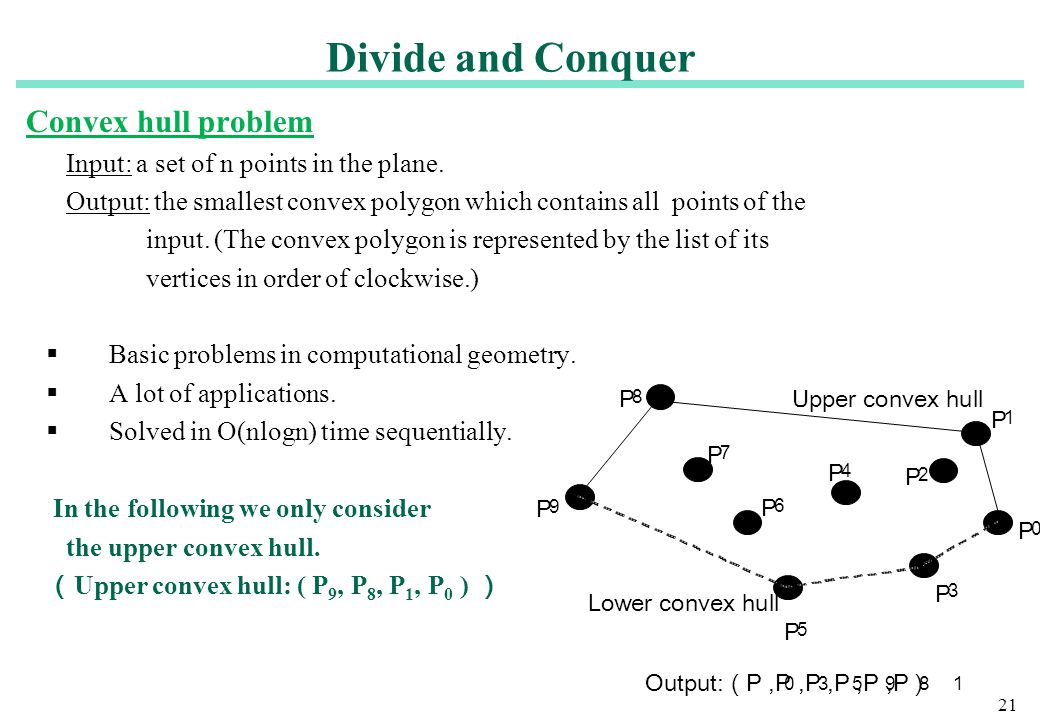 Divide and Conquer Convex hull problem