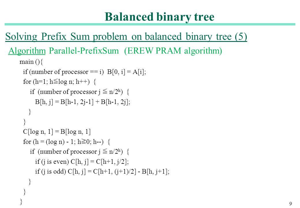 Solving Prefix Sum problem on balanced binary tree (5)