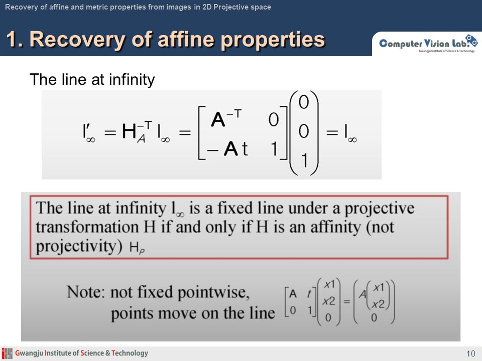 1. Recovery of affine properties