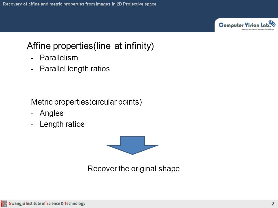 Affine properties(line at infinity)