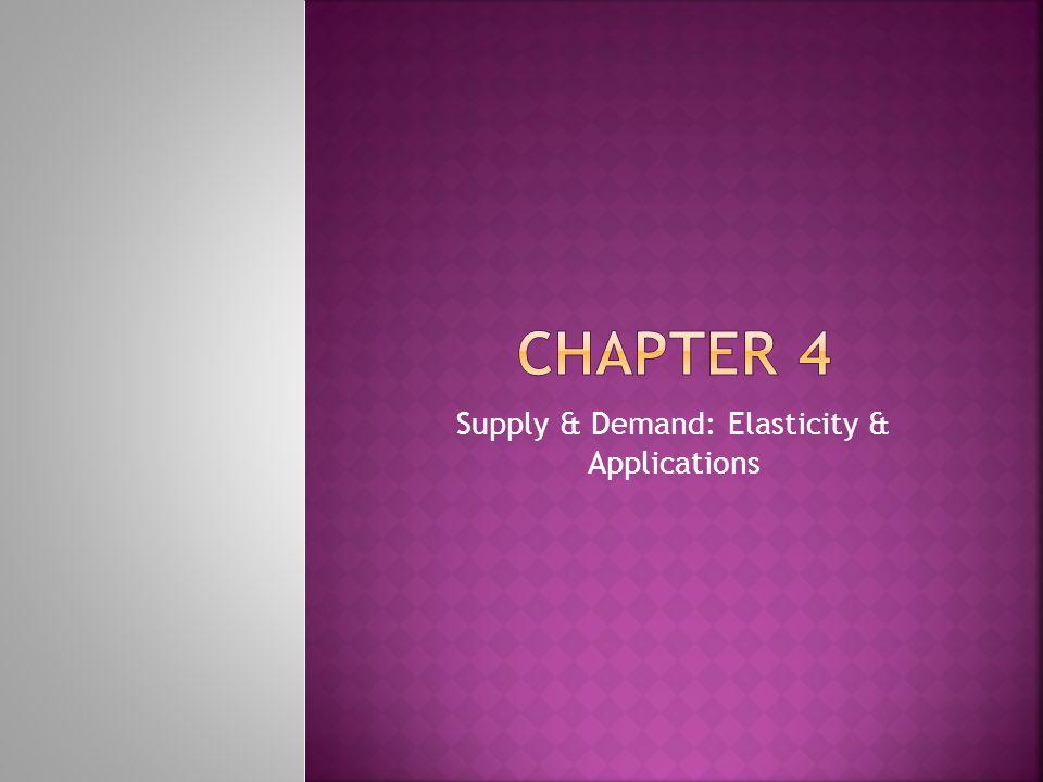 Supply & Demand: Elasticity & Applications