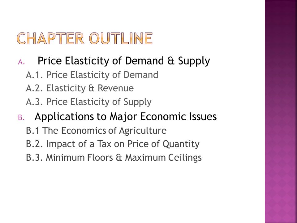 Chapter Outline Price Elasticity of Demand & Supply