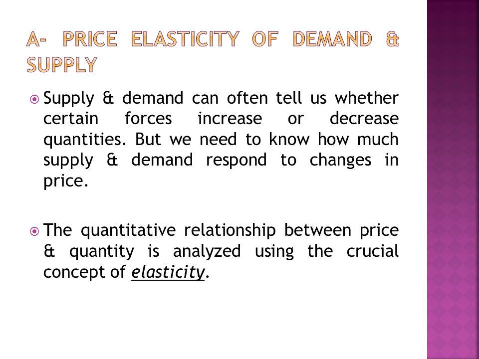 A- Price Elasticity of Demand & Supply