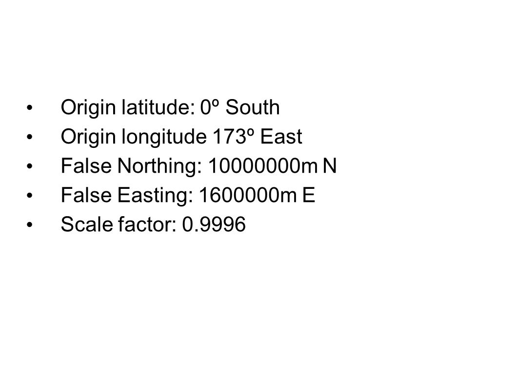 Origin latitude: 0º South