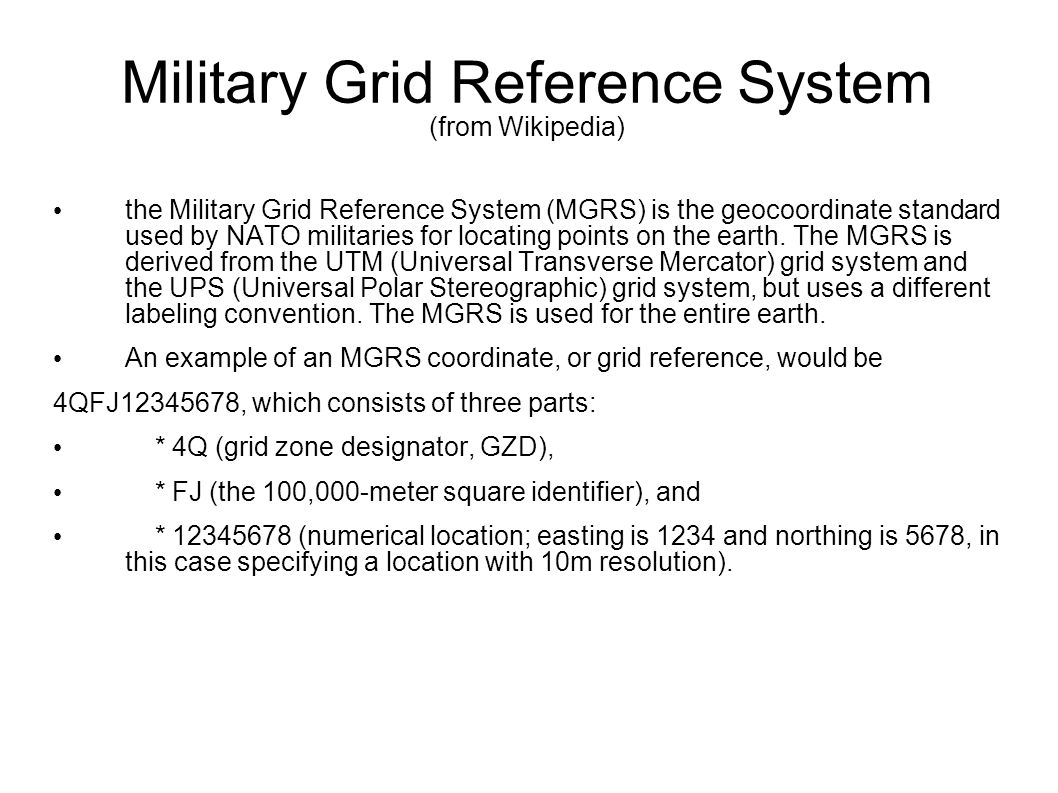 Military Grid Reference System (from Wikipedia)