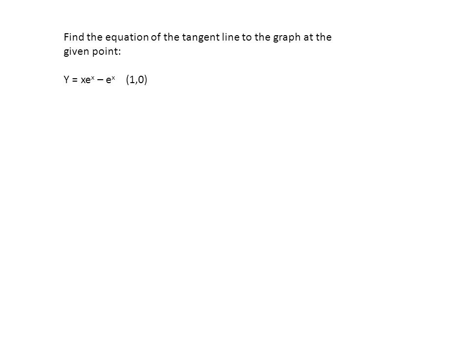Find the equation of the tangent line to the graph at the given point: