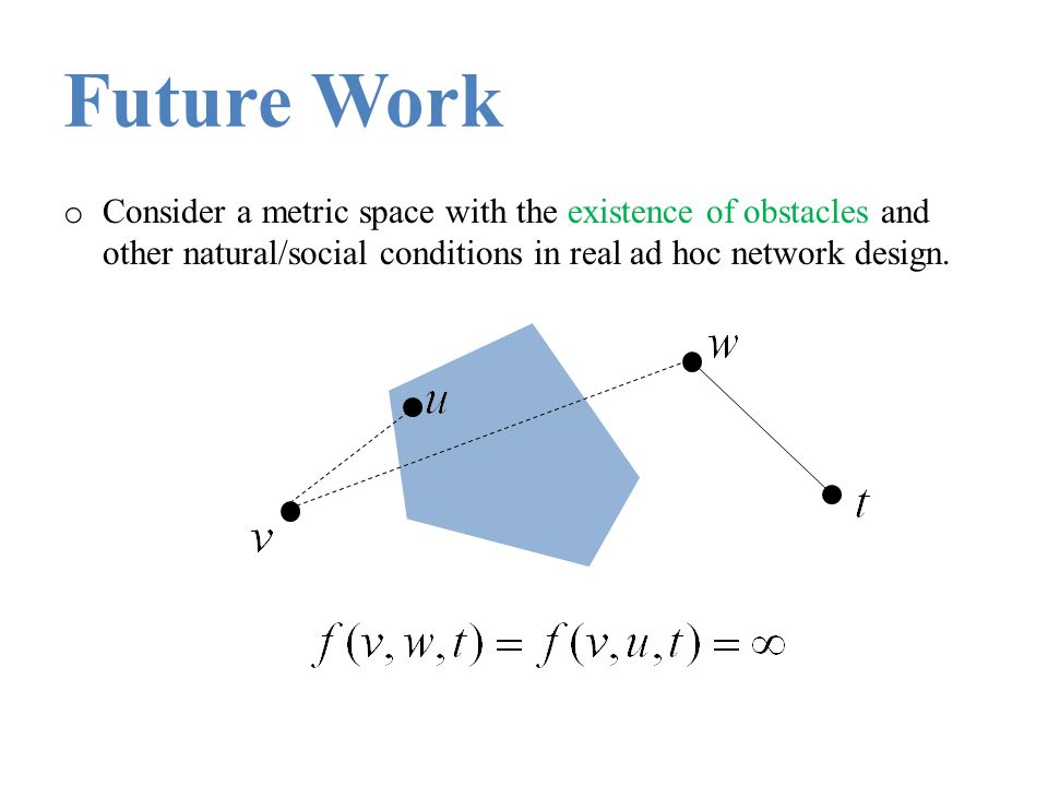 Future Work Consider a metric space with the existence of obstacles and other natural/social conditions in real ad hoc network design.