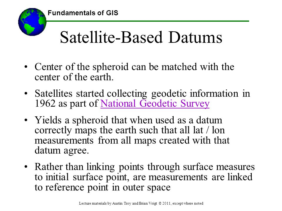 Satellite-Based Datums