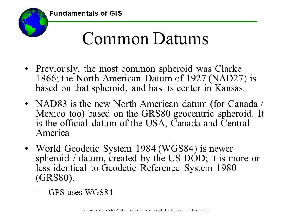 Common Datums