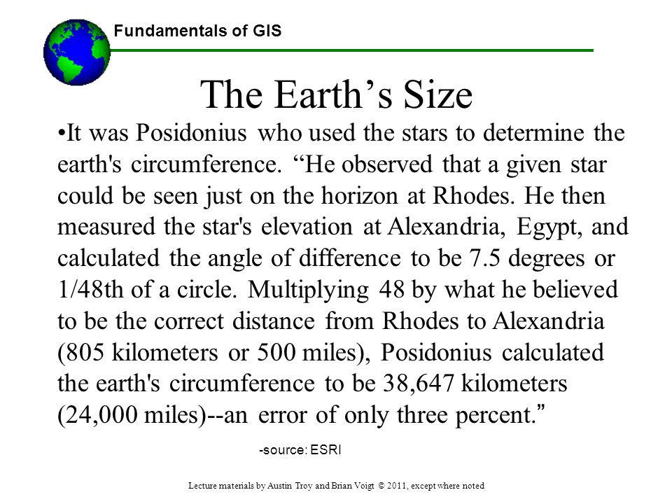 The Earth's Size
