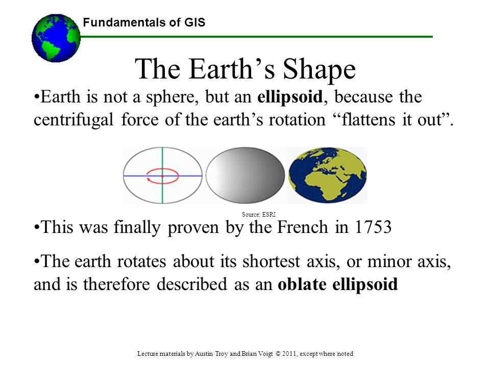 The Earth's Shape Earth is not a sphere, but an ellipsoid, because the centrifugal force of the earth's rotation flattens it out .