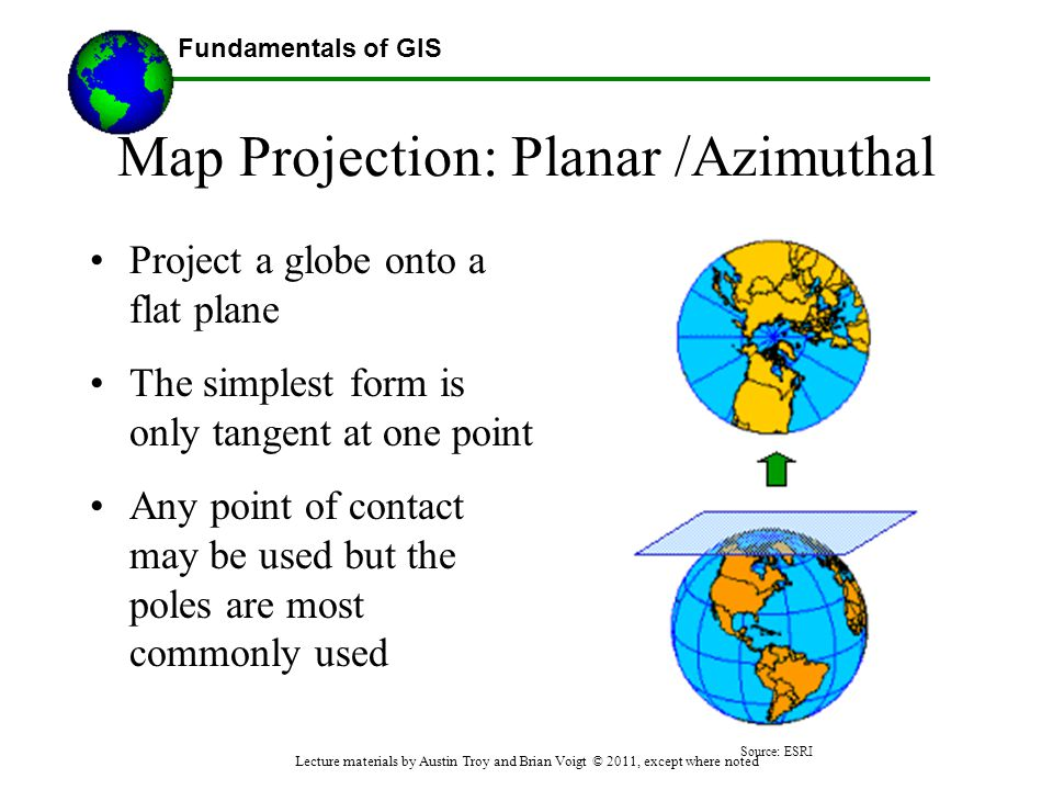 Map Projection: Planar /Azimuthal
