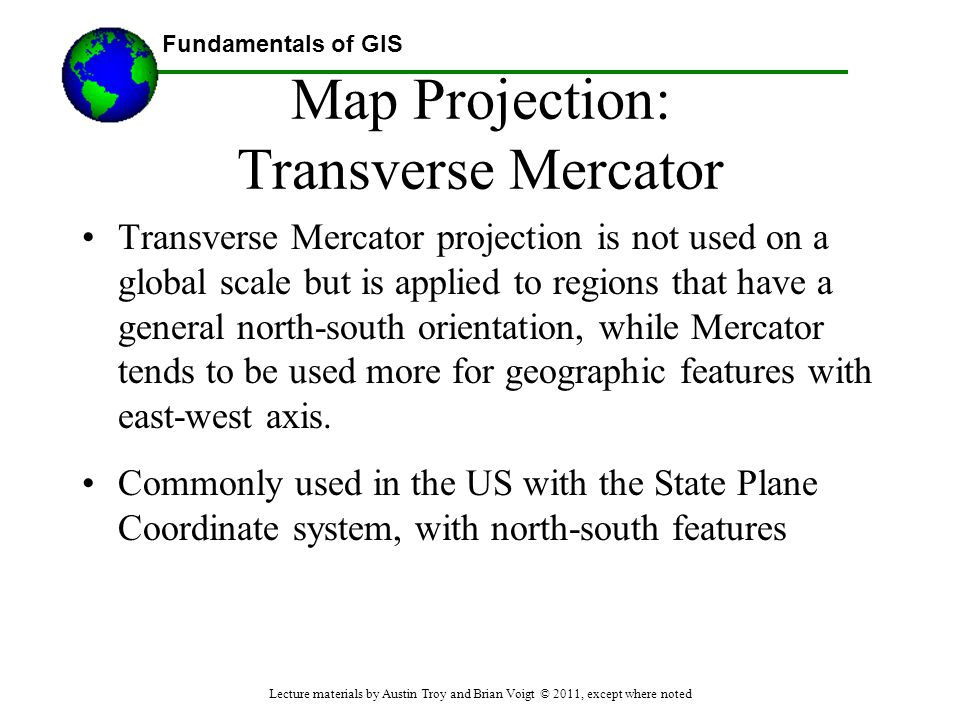Map Projection: Transverse Mercator