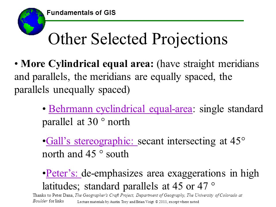 Other Selected Projections