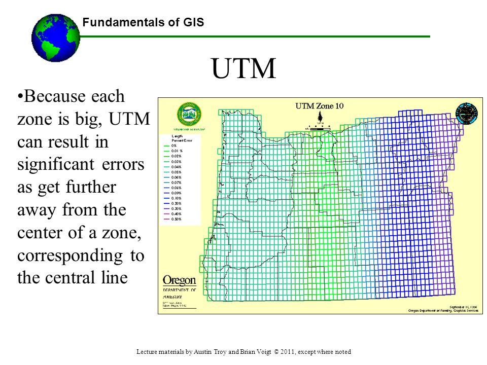 UTM Because each zone is big, UTM can result in significant errors as get further away from the center of a zone, corresponding to the central line.