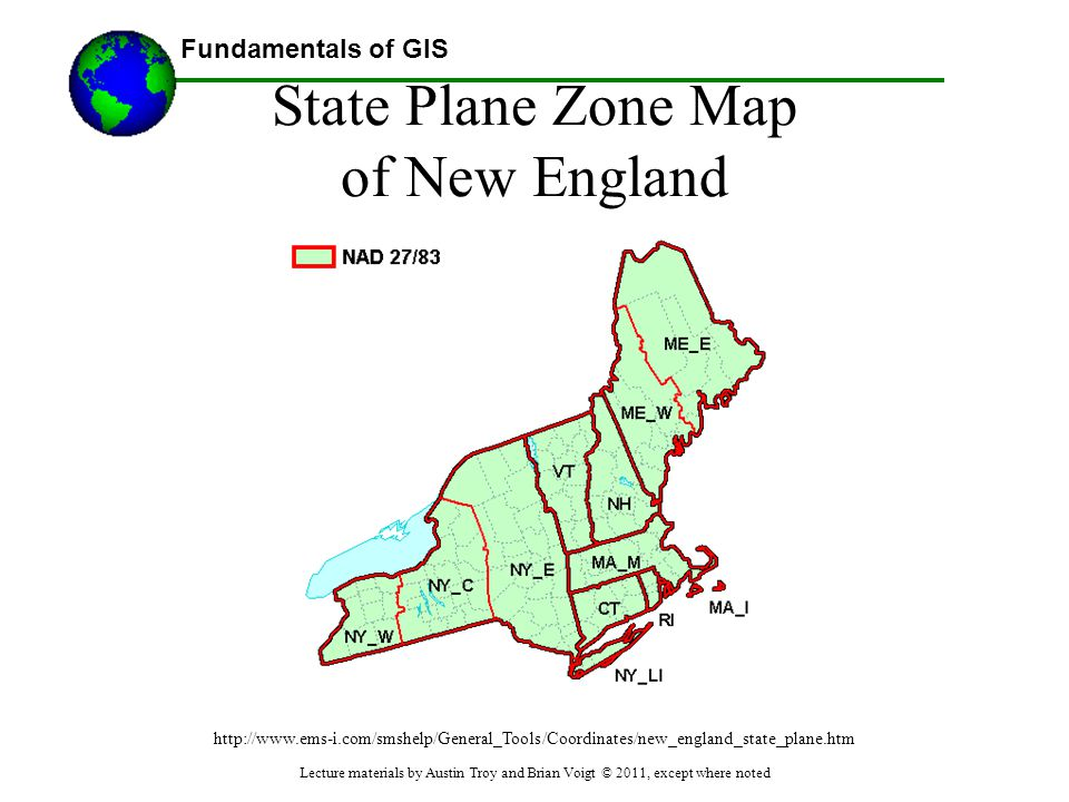 State Plane Zone Map of New England