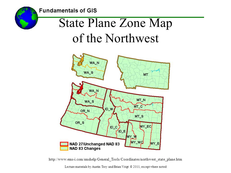 State Plane Zone Map of the Northwest