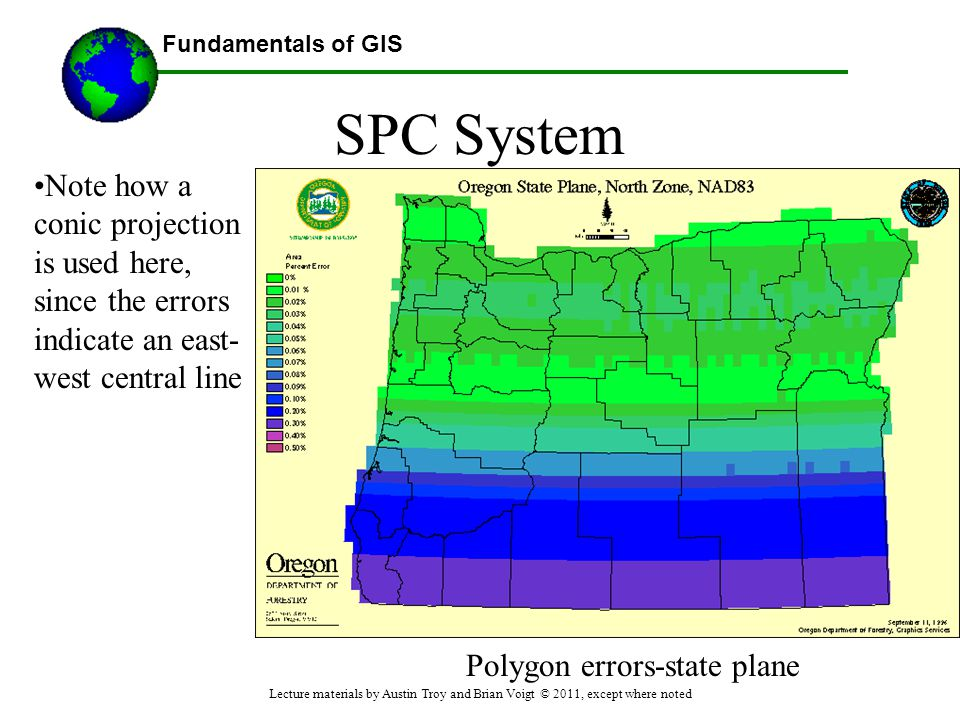 SPC System Note how a conic projection is used here, since the errors indicate an east-west central line.