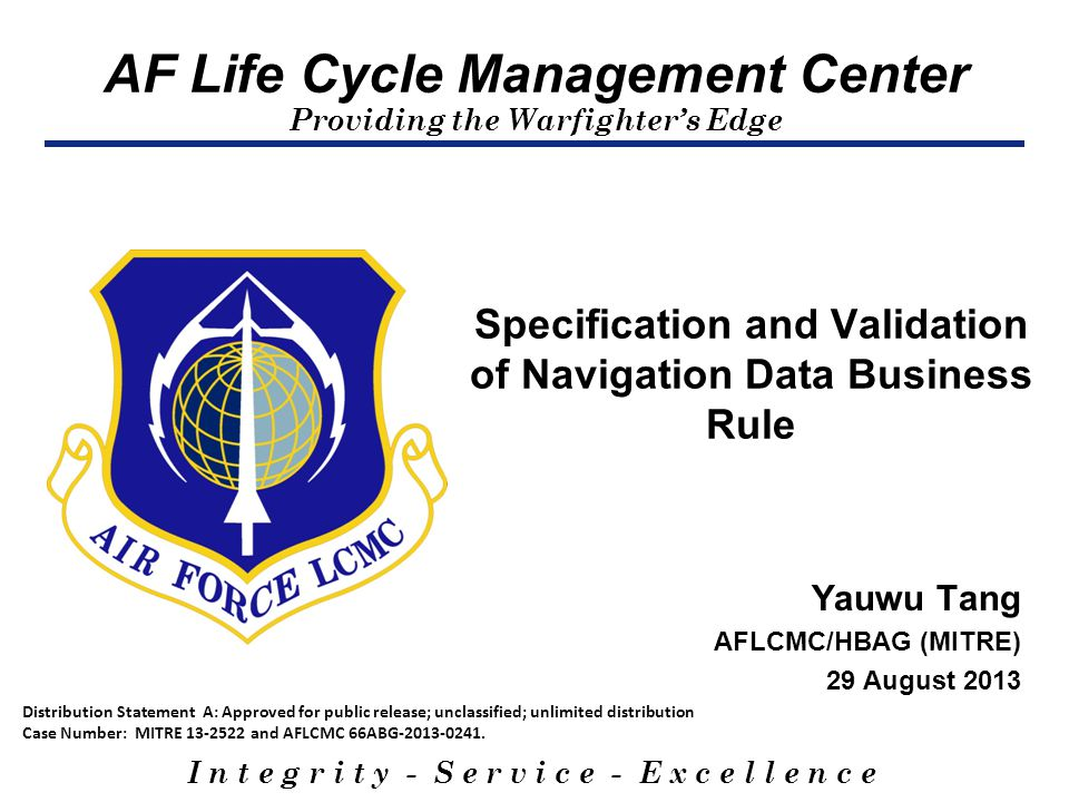 Specification and Validation of Navigation Data Business Rule