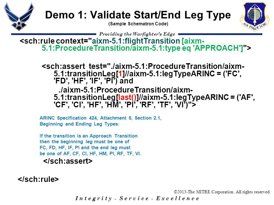 Demo 1: Validate Start/End Leg Type (Sample Schematron Code)