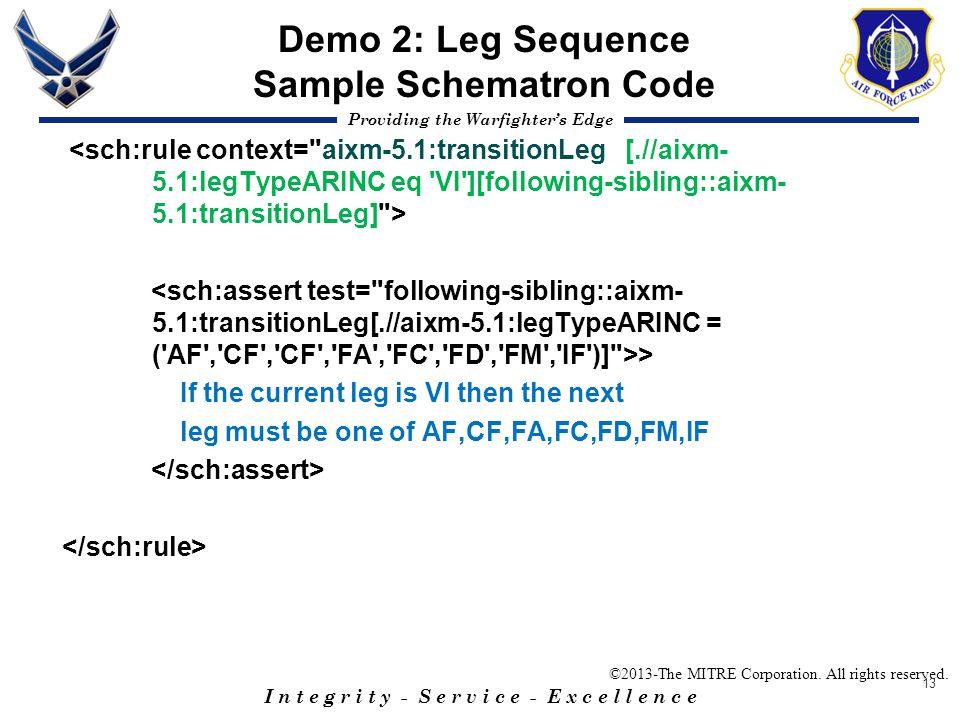 Demo 2: Leg Sequence Sample Schematron Code