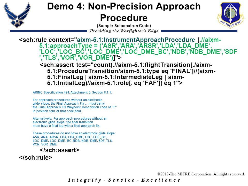 Demo 4: Non-Precision Approach Procedure (Sample Schematron Code)