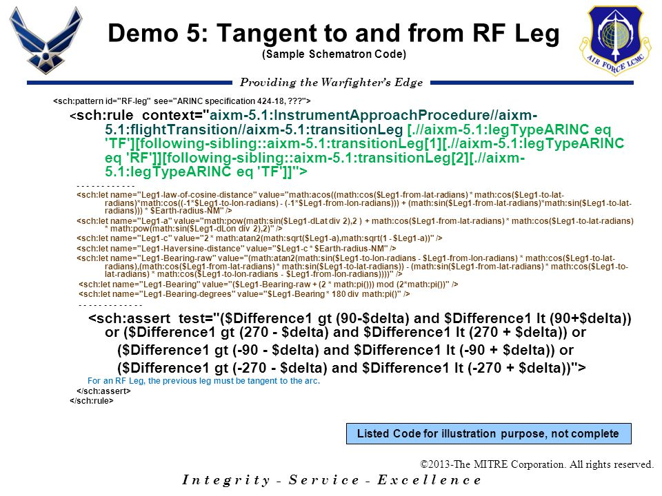 Demo 5: Tangent to and from RF Leg (Sample Schematron Code)