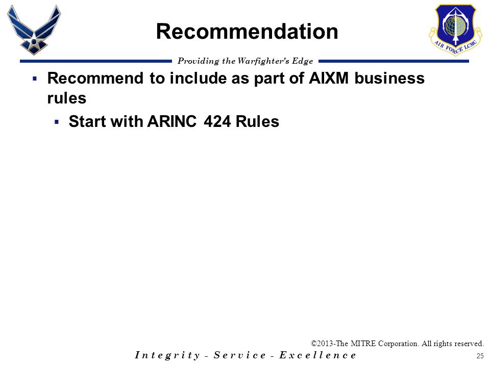Recommendation Recommend to include as part of AIXM business rules