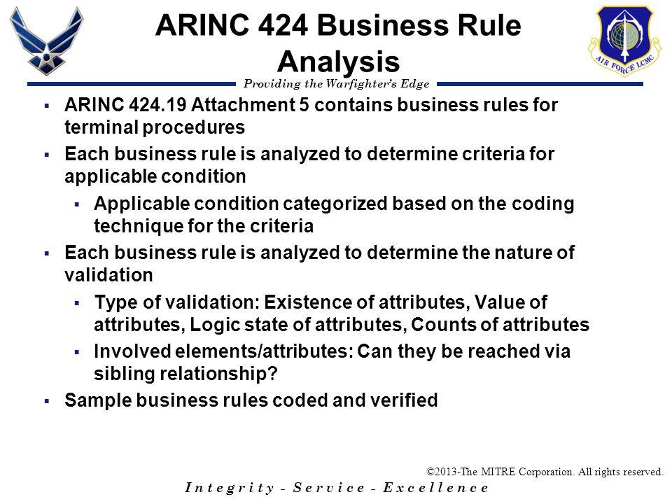 ARINC 424 Business Rule Analysis