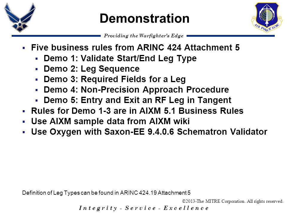 Demonstration Five business rules from ARINC 424 Attachment 5