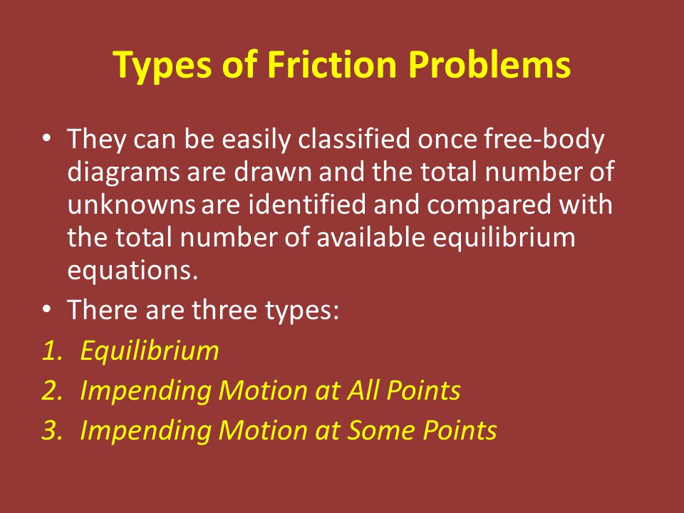 Types of Friction Problems