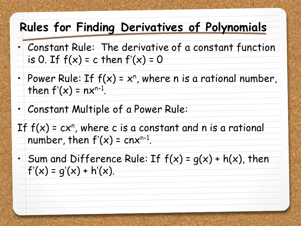 Rules for Finding Derivatives of Polynomials